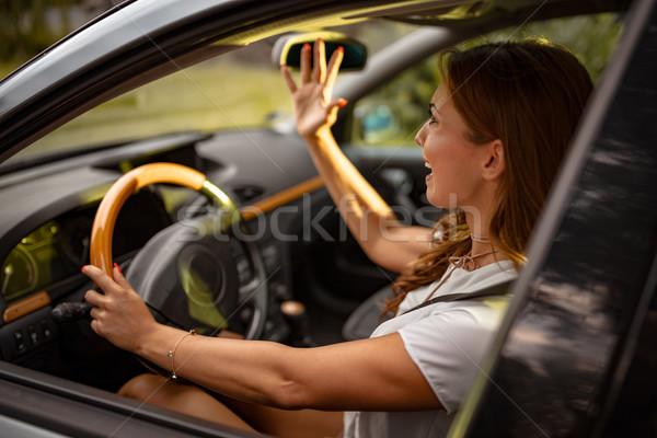 Coincé embouteillage jeunes jolie femme pilote conduite Photo stock © MilanMarkovic78