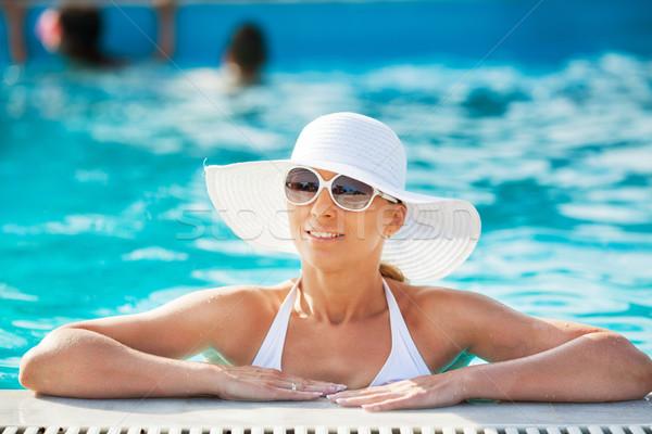 Сток-фото: красивая · женщина · бассейна · молодые · солнце · Бассейн