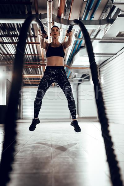 Crossfitの ロープ 訓練 小さな 筋肉の 女性 ストックフォト © MilanMarkovic78
