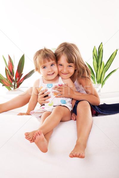 幸せ 女の子 2 座って 子 ストックフォト © MilanMarkovic78