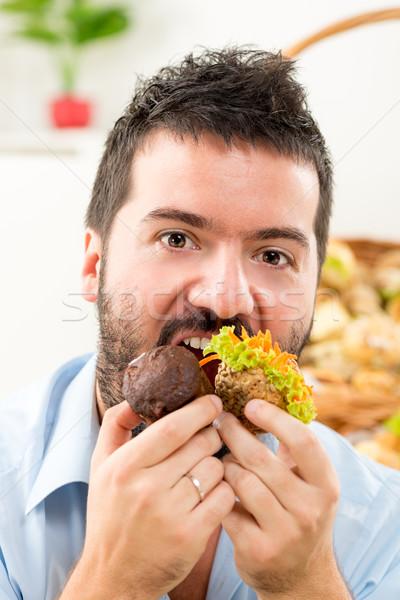 Stock fotó: éhes · ahogy · farkas · közelkép · fiatalember · szakáll