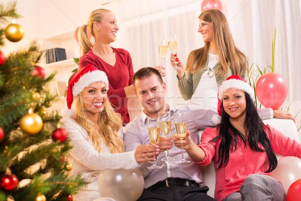 Natal ano novo feliz amigos vidro Foto stock © MilanMarkovic78