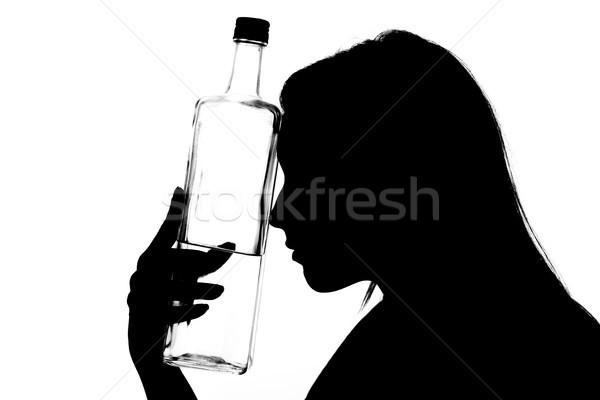Dependencia alcohol silueta jóvenes borracho mujer Foto stock © MilanMarkovic78