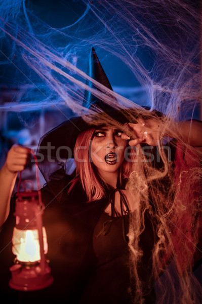 Witch With Lighted Lantern Stock photo © MilanMarkovic78