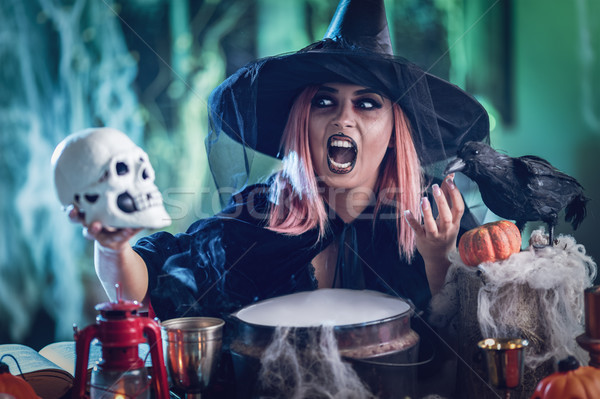Witch Tellis Magic Words To Skull Stock photo © MilanMarkovic78