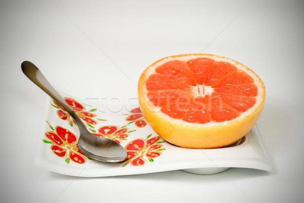 Czerwony grejpfrut piękna taca żywności łyżka Zdjęcia stock © MilanMarkovic78