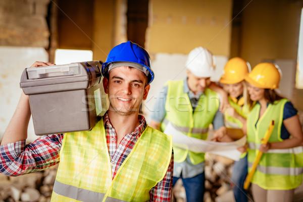 Foto stock: Electricista · sonriendo · jóvenes · casco