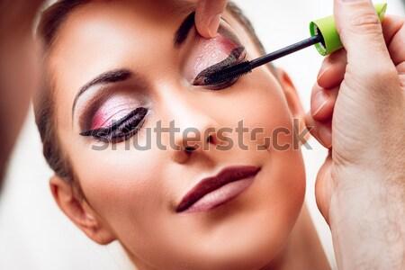 Sminkmester jelentkezik smink szem szépség smink Stock fotó © MilanMarkovic78