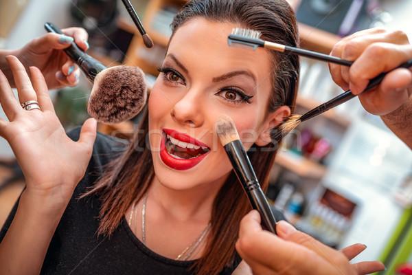 Pinup szépség portré csinos lány smink Stock fotó © MilanMarkovic78