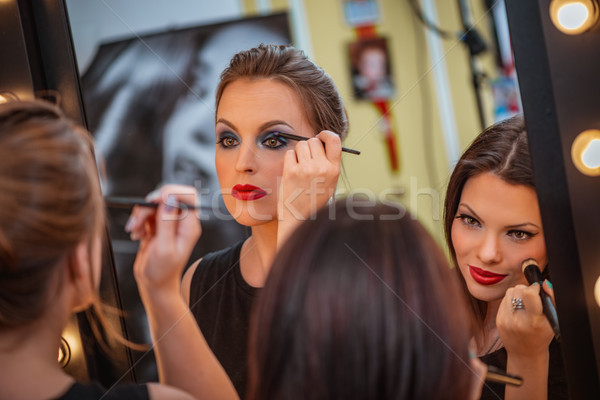 Make-up procede portret spiegel twee mooie Stockfoto © MilanMarkovic78