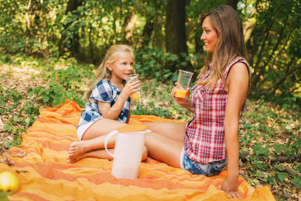 Mother And Daughter With Orange Juice Stock photo © MilanMarkovic78