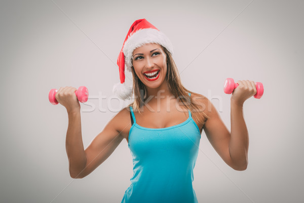 Stock photo: Christmas Fitness Woman