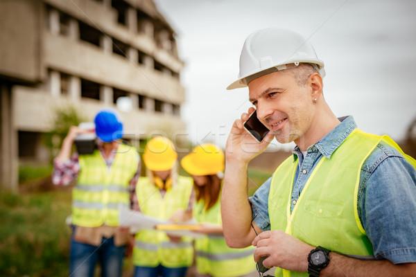 Wiederaufbau Katastrophe Bau Telefon Vorderseite Gebäude Stock foto © MilanMarkovic78