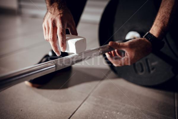 Pronto exercício forte mãos magnésio Foto stock © MilanMarkovic78