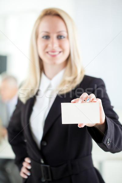 Biglietto da visita bella giovani imprenditrice ufficio Foto d'archivio © MilanMarkovic78