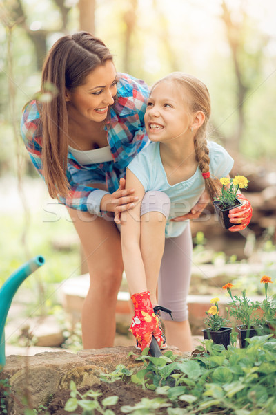 Stock photo: Gardening With Mom