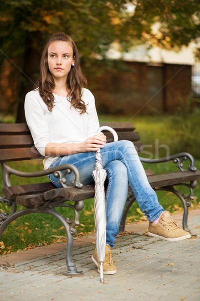 Yalnızlık yalnız kadın oturma bank park Stok fotoğraf © MilanMarkovic78