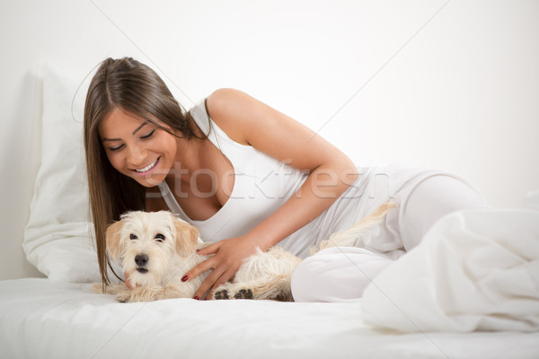 Cute girl and dog in the morning Stock photo © MilanMarkovic78