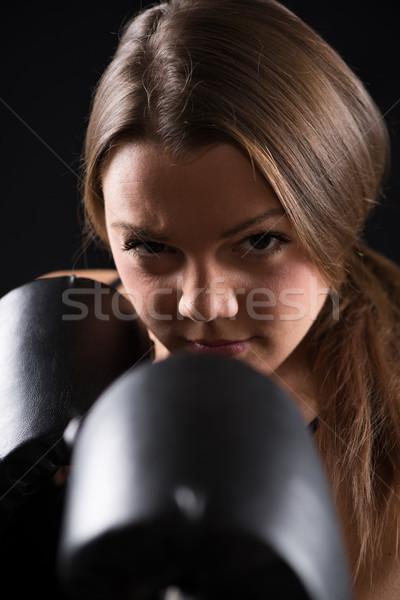 Foto d'archivio: Boxing · giovani · bella · ragazza · piedi