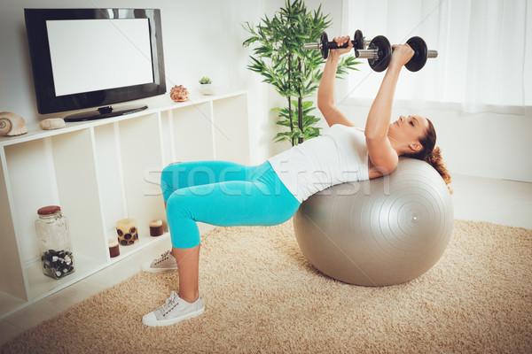 ストックフォト: 行使 · ホーム · 美しい · 筋肉の · 少女 · トレーニング