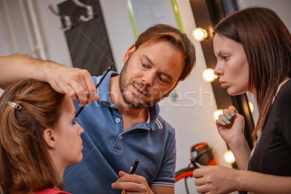 Iskola smink tanár segít diákok képzés Stock fotó © MilanMarkovic78