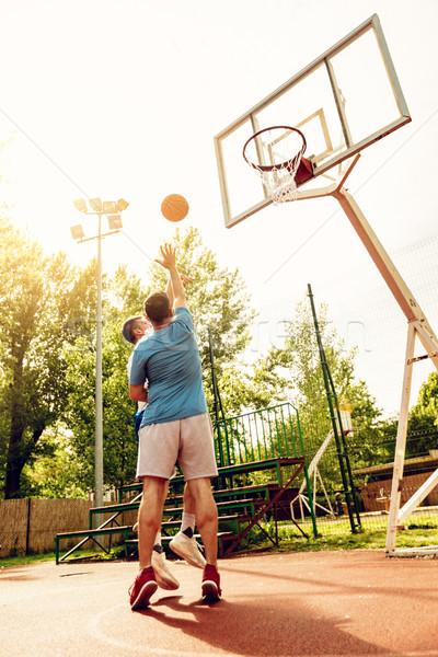 Basketball ein zwei Straße Spieler Ausbildung Stock foto © MilanMarkovic78