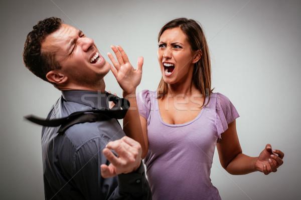 Häusliche Gewalt böse aggressive Ehefrau Frau Mann Stock foto © MilanMarkovic78