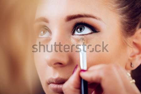 Tökéletes smink sminkmester arc modell közelkép Stock fotó © MilanMarkovic78
