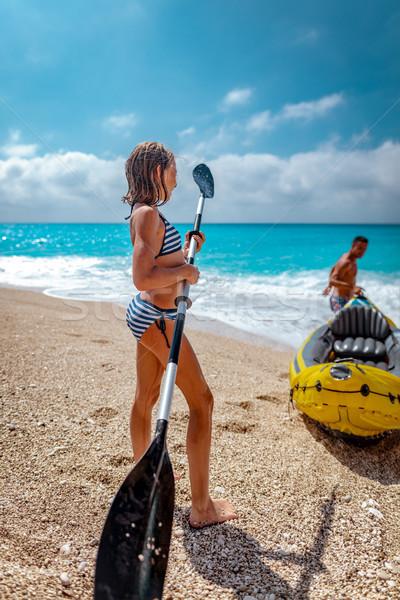 Caiaque little girl jogar pai Foto stock © MilanMarkovic78