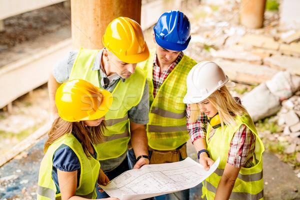 Stockfoto: Team · vier · bouw · plan · gebouw
