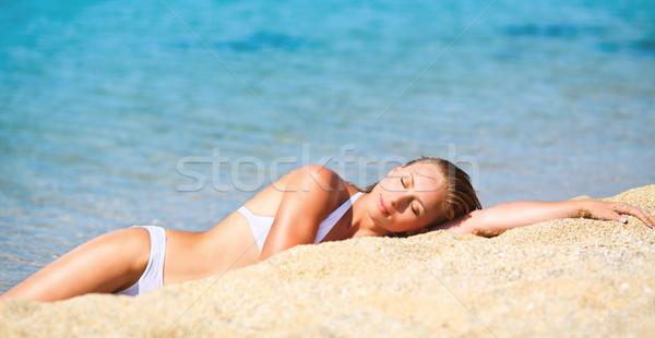 Gozo praia jovem bela mulher relaxante Foto stock © MilanMarkovic78