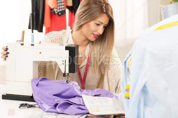 Beautiful Women Sew Stock photo © MilanMarkovic78