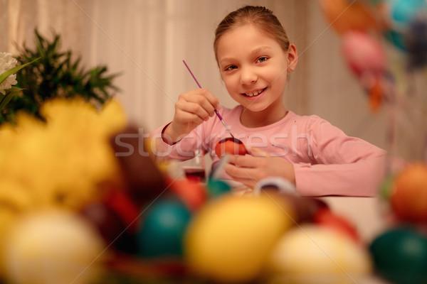 絵画 イースターエッグ かわいい 笑みを浮かべて 女の子 イースターエッグ ストックフォト © MilanMarkovic78
