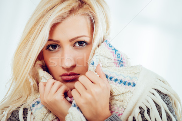 Tucked Beautyful Blonde Girl  Stock photo © MilanMarkovic78
