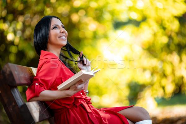 Foto stock: Beleza · livro · belo · mulher · jovem · primavera