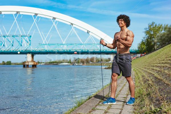 焦点 筋肉の 若い男 裸 胴 強い ストックフォト © MilanMarkovic78
