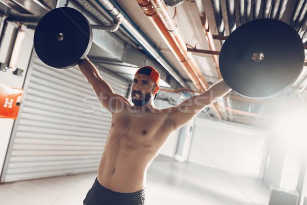 Stock foto: Starken · wütend · jungen · muskuläre · Mann · Ausübung