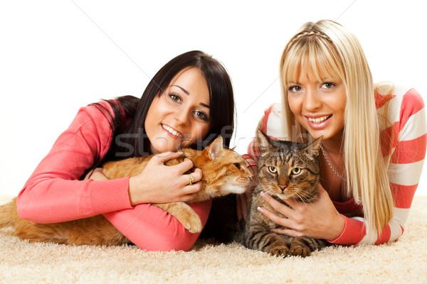 Barátok gyönyörű lányok házimacska élvezi otthon Stock fotó © MilanMarkovic78