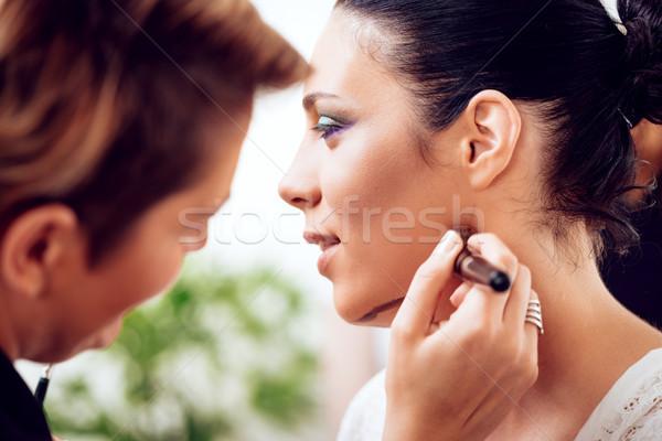 Sminkmester arc modell közelkép smink gyönyörű Stock fotó © MilanMarkovic78