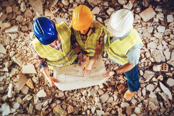 Ricostruzione tre costruzione piano costruzione Foto d'archivio © MilanMarkovic78
