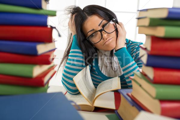 öğrenci kız portre yorgun gözlük oturma Stok fotoğraf © MilanMarkovic78