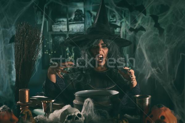 Bruja mal cara sombrero cabeza horripilante Foto stock © MilanMarkovic78