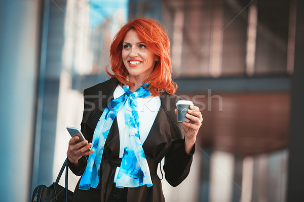 Businesswoman On A Coffee Break Stock photo © MilanMarkovic78