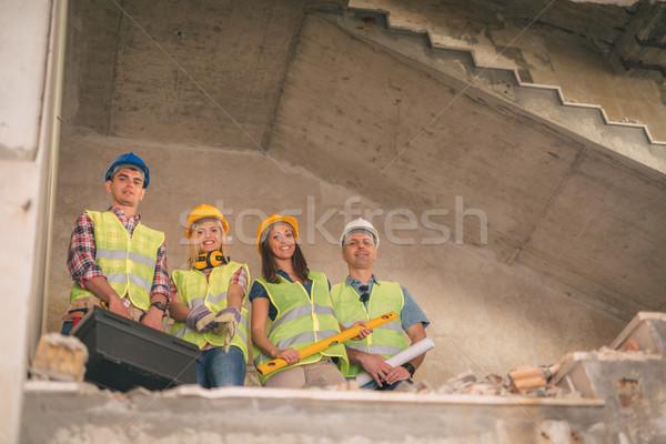 Foto stock: Equipo · cuatro · construcción · edificio · desastre