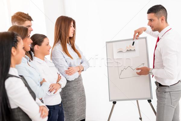 Businessman Pointing Flip Chart Stock photo © MilanMarkovic78