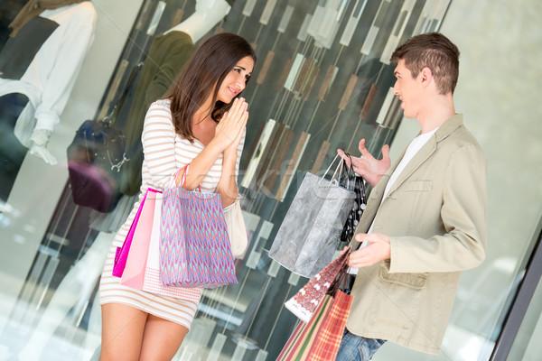 Yeterli alışveriş güzel kız dua eden erkek arkadaş Stok fotoğraf © MilanMarkovic78