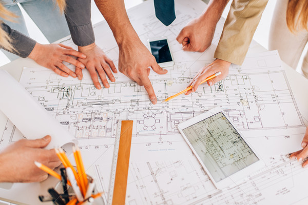 Projekt felső kilátás négy sikeres építész Stock fotó © MilanMarkovic78