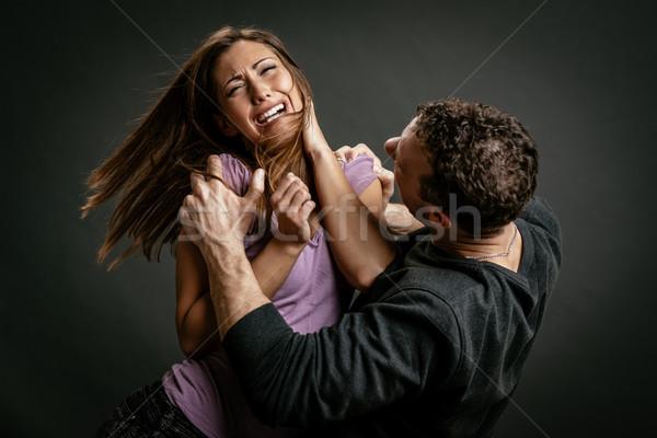 家庭内暴力 怒っ 積極的な 夫 女性 男 ストックフォト © MilanMarkovic78