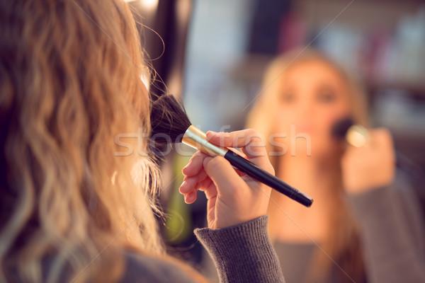 Bőrpír aranyos lány tükör jelentkezik nő Stock fotó © MilanMarkovic78