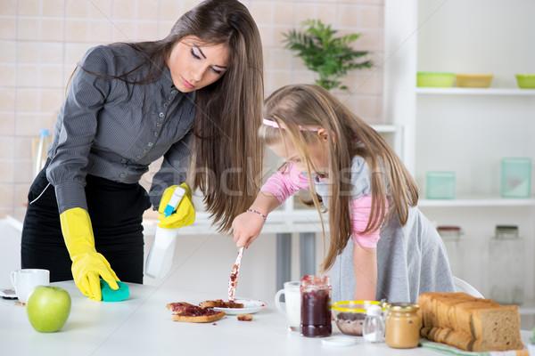 Bałagan jam kuchnia zły przepracowany kobieta interesu Zdjęcia stock © MilanMarkovic78